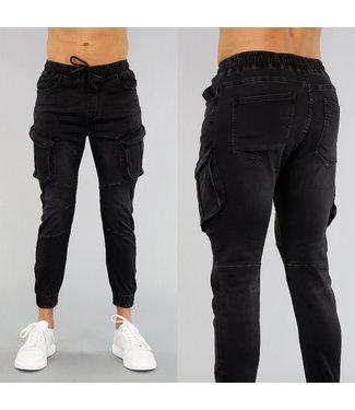 NEW! Zwarte Heren Cargo Jeans met Zakken