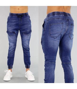 Blauwe Heren Cargo Jeans met Zakken