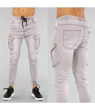 Grijze Heren Cargo Jeans met Zakken