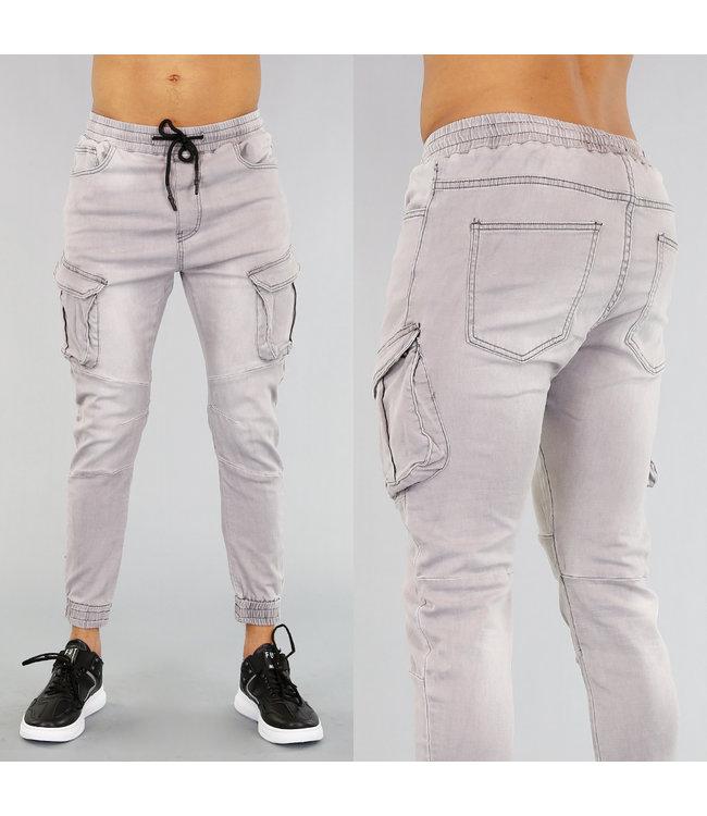!OP=OP Grijze Heren Cargo Jeans met Zakken