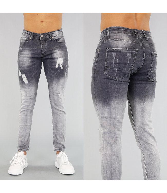 Grijze Heren Jeans met Lichte Wassing