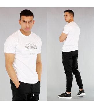 NEW! Wit Heren T-Shirt met Opdruk