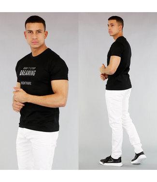 NEW! Zwart Heren T-Shirt met Opdruk