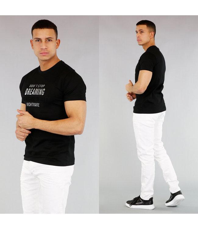 Zwart Heren T-Shirt met Opdruk