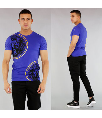 Blauw Heren T-Shirt met Leeuwenkop