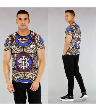 NEW! Heren Meerkleurig Print T-Shirt