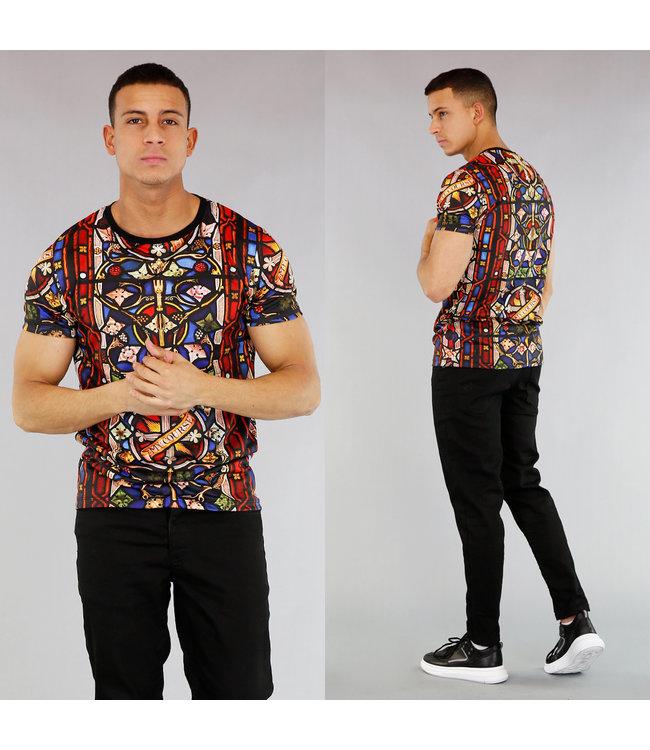 !OP=OP Heren T-Shirt met Drukke Print