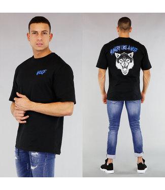 NEW! Zwart Heren Wolf Shirt met Strass