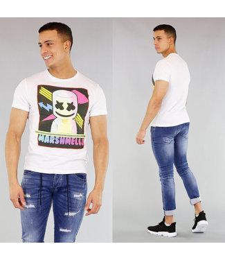 !OP=OP Wit Heren T-Shirt met Cartoon Print