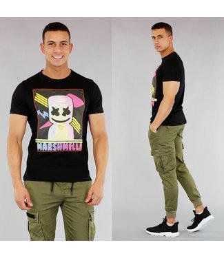 NEW! Zwart Heren T-Shirt met Cartoon Print