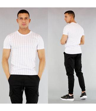 !SALE40 Gestreept Heren T-Shirt Wit