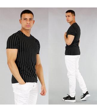 NEW! Gestreept Heren T-Shirt Zwart