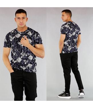 Donkerblauw Heren T-Shirt met Print