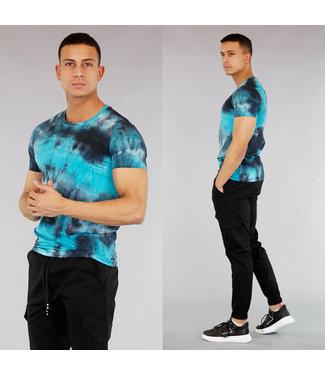 !SALE40 Blauw Heren Shirt met Gebleekte Wassing