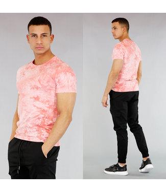 !SALE40 Roze Heren Shirt met Gebleekte Wassing