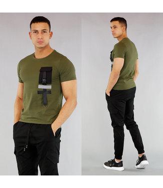 !SALE40 Groen Heren Shirt met Kliksluiting