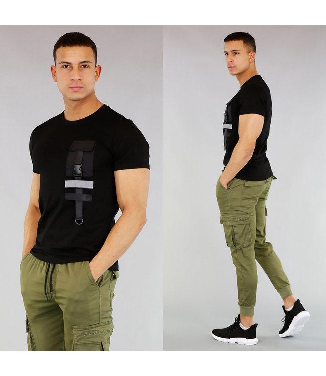 Zwart Heren Shirt met Kliksluiting