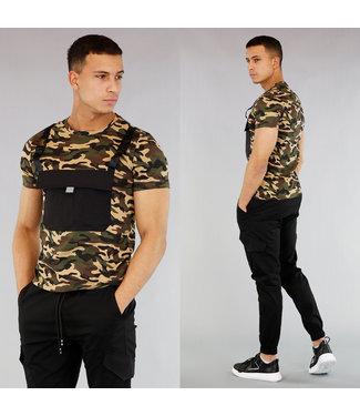 !SALE40 Camouflage Heren Shirt met Buidelzak