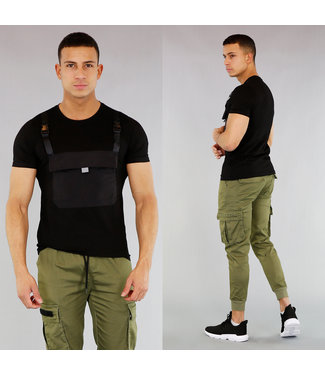 NEW! Zwart Heren Shirt met Buidelzak