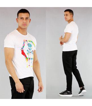!OP=OP Wit Heren Skull Shirt met Verfspatten