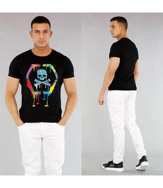 NEW! Zwart Heren Skull Shirt met Verfspatten