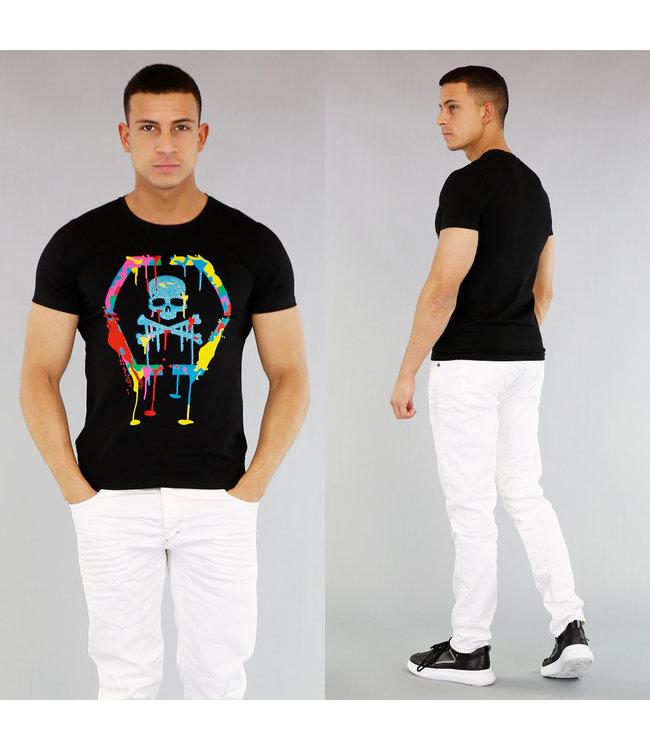 Zwart Heren Skull Shirt met Verfspatten