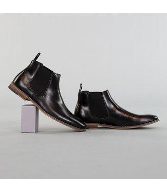 NEW! Hoge Heren Lederlook Schoenen Zwart