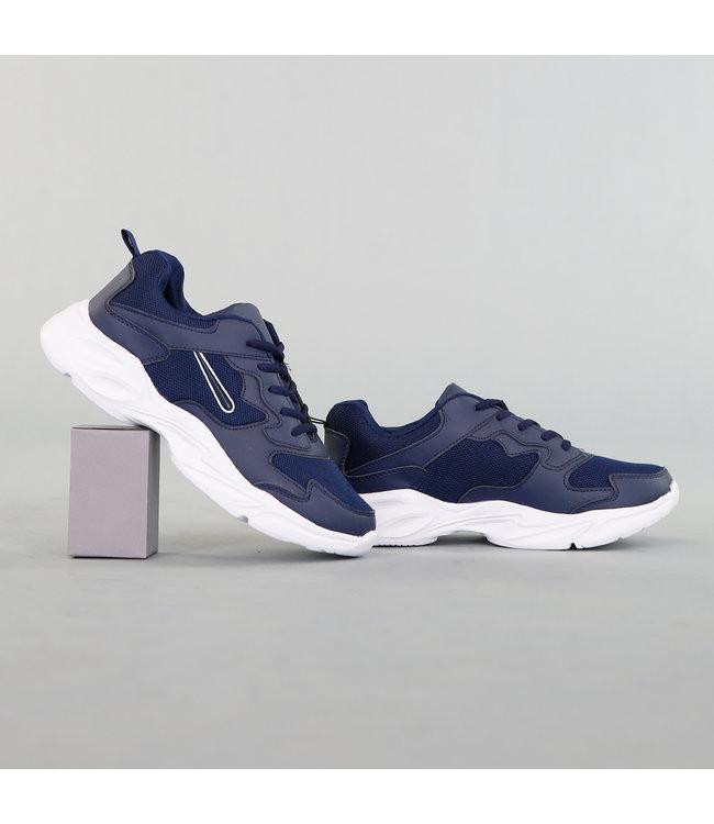 Blauwe Heren Sport Schoenen met Dikke Zool