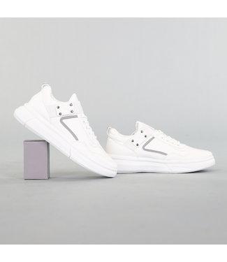 !OP=OP Heren Lederlook Sneakers met Grove Zool Wit