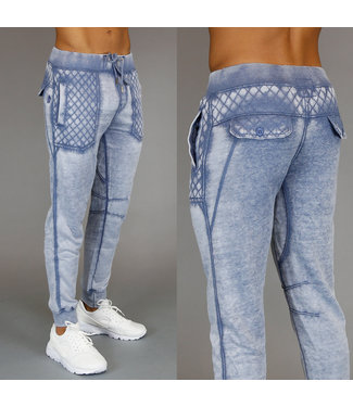 !SALE Blauwe Acid Washed Heren Joggingbroek met Ruitpatroon