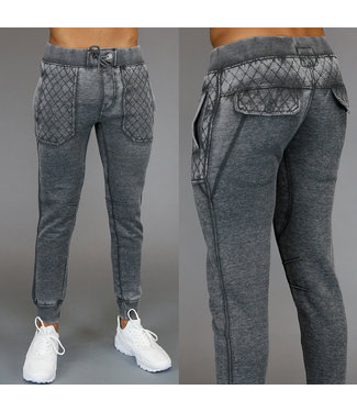 !SALE Grijze Acid Washed Heren Joggingbroek met Ruitpatroon