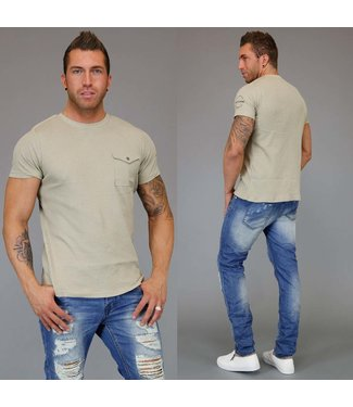 !SALE Textured Heren T-Shirt met Stretch Beige