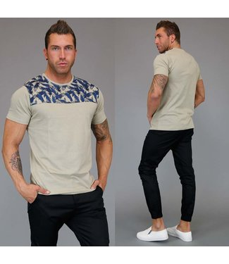 !SALE Beige Heren T-Shirt met Feather Print