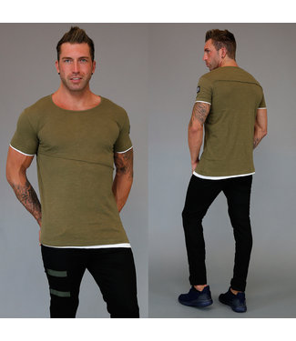 !SALE Double Heren Shirt met Korte Mouwen Khaki