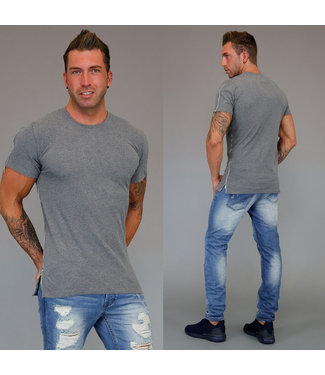 !SALE Grijs Zipper Heren T-Shirt met Ritsen