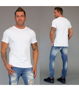 !SALE Wit Zipper Heren T-Shirt met Ritsen