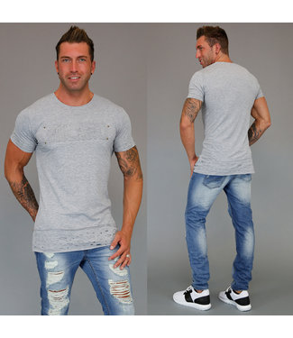 !SALE70 Damaged Grijs Heren T-Shirt Milano