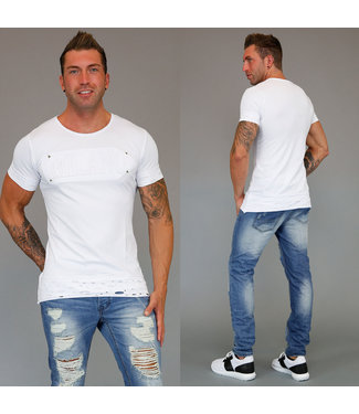 !SALE70 Damaged Wit Heren T-Shirt Milano