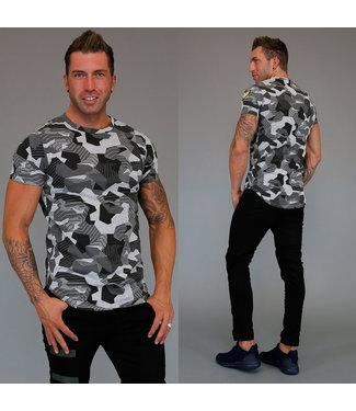 !SALE Grijs Heren T-Shirt met Grafische Print