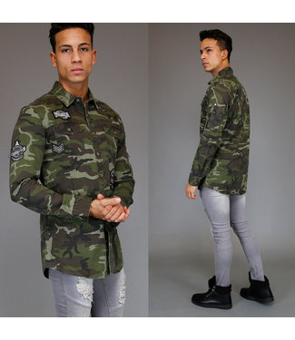 !SALE Fashion Camouflage Heren Blouse met Patches
