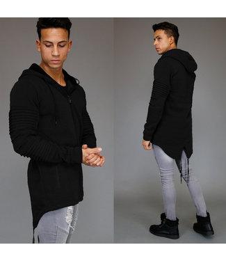 Asymmetrisch Zwart Vest met Capuchon en Camo Detail