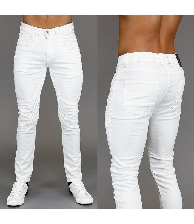 !SALE Comfy Off-White Heren Jeans met Ribbelpatroon