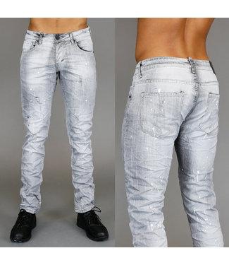 !SALE Lichtgrijze Slim Fit Heren Jeans met Verfspatten