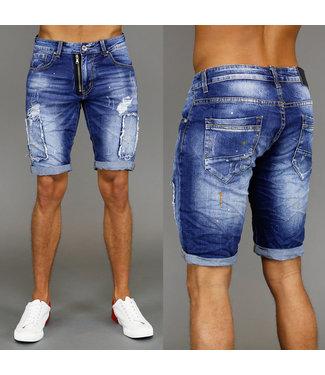 Ripped Dark Washed Heren Jeans Short met Verfspatten