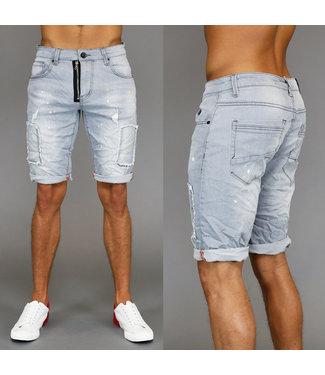 !SALE70 Grijze Ripped Heren Jeans Short met Verfspatten