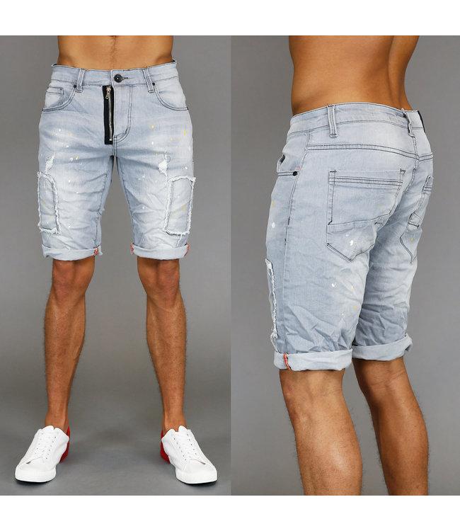 sale70 grijze ripped heren jeans short met verfspa - Korte Broek Met Rits Heren