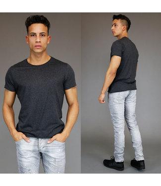 !SALE Basic Grijs Heren T-Shirt met Korte Mouwen