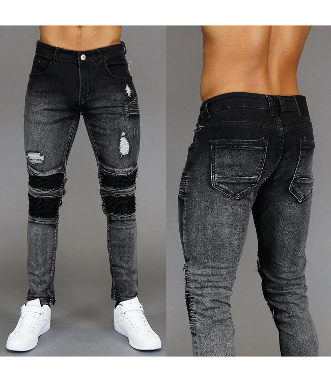 Beste Zwart Old Look Washed Heren Jeans met Scheuren en Ribbelpatroon YV-27