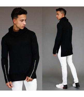 !SALE Asymmetrische Zwarte Heren Sweater met Hoge Col