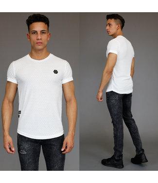 !SALE Off-White Reliëf Heren Shirt met Korte Mouwen